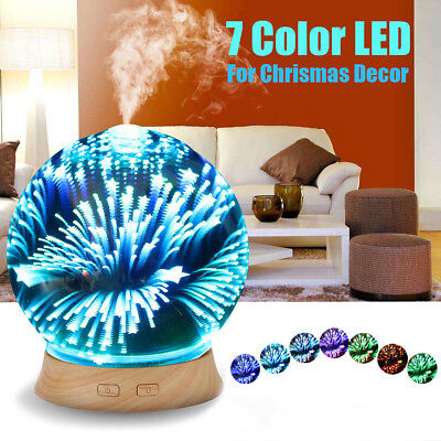 LED Ultrasonic Aromatherapy Essential Oil Diffuser 3D Glass Ball Home Humidifier