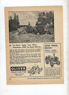 Oliver Balemaster Advertisement removed from 1953 Farming Magazine