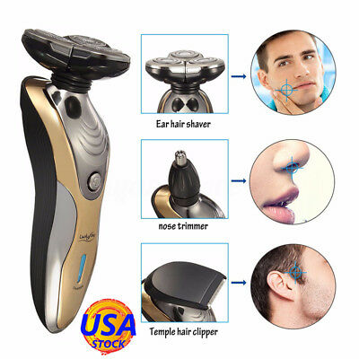 Men's Rechargeable Washable Cordless 3D Rotary Electric Shaver Beard Hair Razor