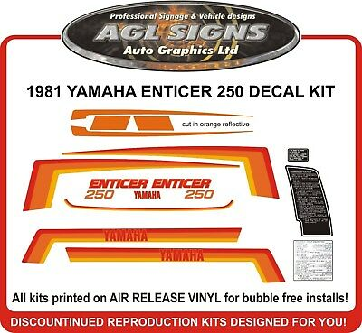 1981 YAMAHA ENTICER 250 SNOWMOBILE DECAL KIT  reproductions graphics