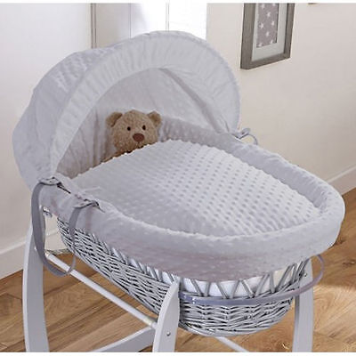 Clair De Lune Deluxe Padded Grey Wicker Moses Basket Dimple Grey