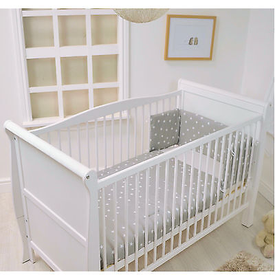 New 4Baby Grey White Stars 2 Piece Cot Cotbed Quilt And Bumper Bedding Set