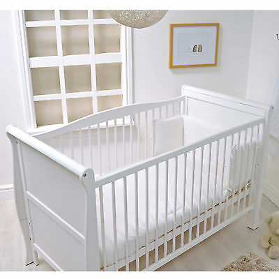 New 4Baby White Waffle 2 Piece Cot Cotbed Quilt And Bumper Bedding Set