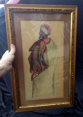 Old Antique Persian Middle Eastern Man in a Turban Watercolor Portrait Painting