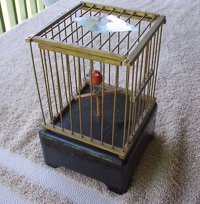 Vintage Automation Bird Cage Music Box~TL Co~Rotating Bird~Door Opens~Wind-up