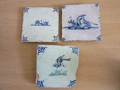 "3 Early Antique Delft blue 5.25"" ceramic tiles 17th/18th Century"