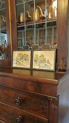 Charming Pair Of Antique Vintage 1920's-30s Needlepoint Motto Samplers