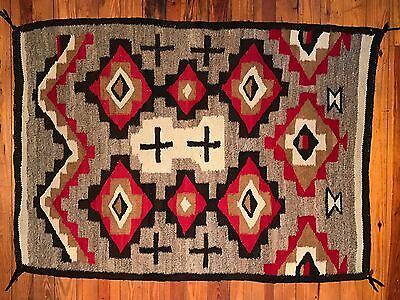 Unique NAVAJO RUG, Spider Woman Crosses and Atypical Patterning, c1930,Near Mint