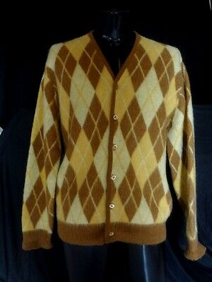 Vintage Men's Button Front Hipster Cardigan Sweater