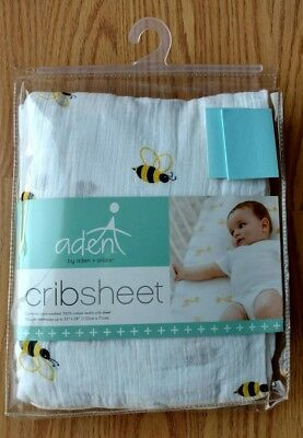 ADEN & ANAIS Infant Baby MUSLIN Fitted Crib Sheet Bumble Bee Boys Girls Toddler