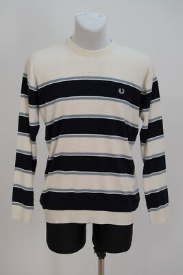 Mens Fred Perry Vintage Jumper Cotton Blend Sweater Navy White Striped L Large