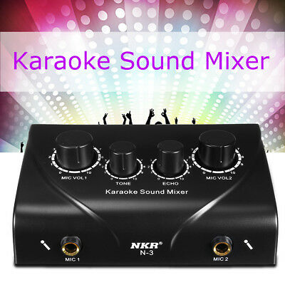 NKR Karaoke Sound Mixer Dual Mic Inputs With Cable for Stage Home KTV Black 12V