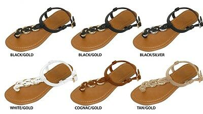 New Wholesale Lot 36 Pairs Ladies Thong Sandal with Metal Hardware Accents