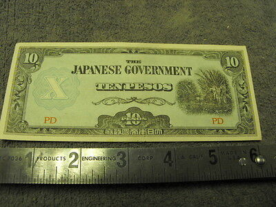 WW2 Imperial Japanese Goverment  10 Pesos  Currancy  for  Occupied Philippines
