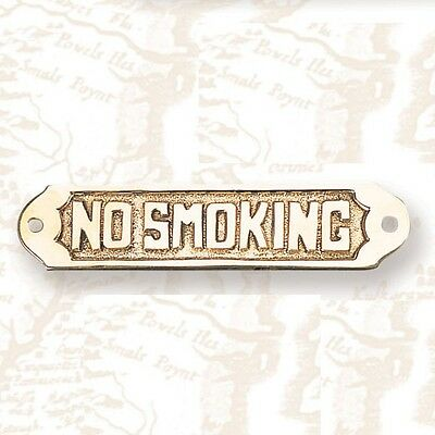 "BP-714F NO SMOKING Brass Plaque 6"" NAUTICAL boat sign NEW"