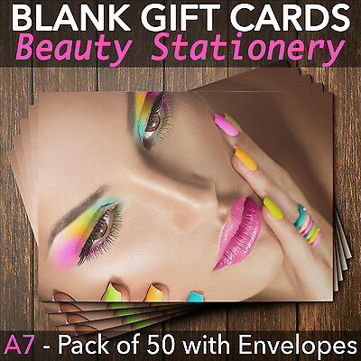 Gift Voucher Card Eyelash Beauty Nail Salons Hair Lash Lift x50 + Envelopes