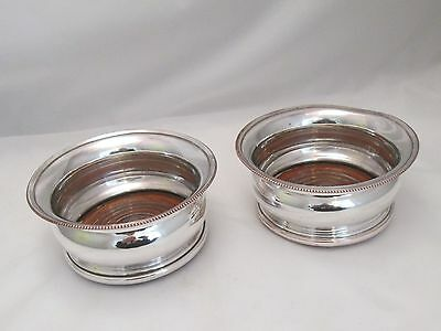 A Good Pair of Deep Silver Plated Champagne / Wine Coasters - c1900