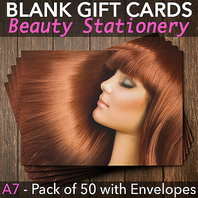 Gift Voucher Card Beauty Hair Make Up Salons Hairdressers Spa - x50 + Envelopes