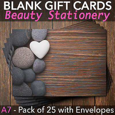 Blank Gift Voucher Card Massage Beauty Spa Holistic Salon - x25 + Envelopes