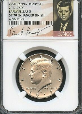 2017 S 225th Anniversary Kennedy Half Dollar Early Releases NGC SP70 E.F.  SIG