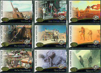 Star Trek Cinema 2000 Set Of 9 Alien Worlds Cards Aw01-Aw09