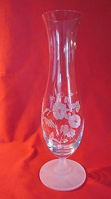 Avon Hummingbird 24% Full Lead Crystal Bud Vase