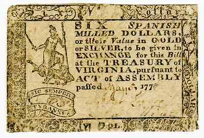 MAY 5th 1777 - COLONIAL CURRENCY VIRGINIA $6 FRVA-128 -FINE