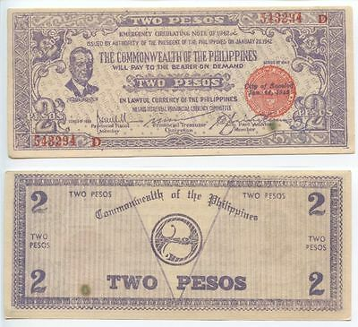 GB551 - Banknote Philippinen 2 Pesos 1942 Emergency Issues WWII. Philippines