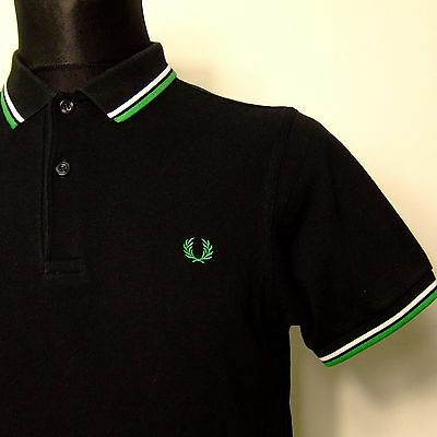 "Vtg FRED PERRY polo shirt INDIE M MEDIUM 40""chest mod weller oi oldschool black"