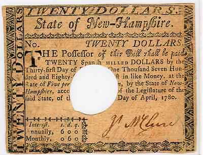 APRIL 20th 1780 -  $3 COLONIAL CURRENCY NEW HAMPSHIRE  FR#NH-186 HOLE CANCELLED
