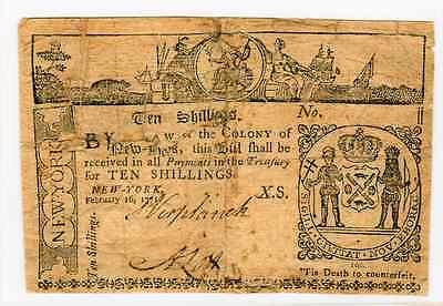 FEBRUARY 16th 1771 - 10 SHILLINGS COLONIAL CURRENCY NEW YORK - FRNY-162 - VG