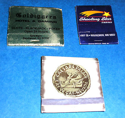 3 Vintage Casino Matchbook Covers Gold Diggers, Shooting Star Caesers