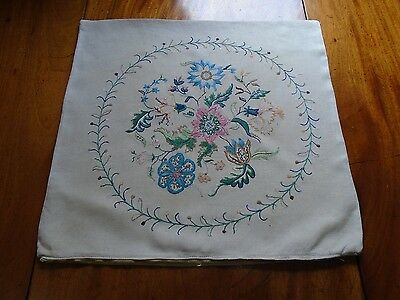 Vintage hand embroidered Jacobean design cream cushion cover.