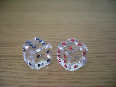 Swarovski Crystal Pair Of Red And Blue Dice Good Luck Collection.