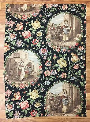 Vintage Rare 1930's French Linen Scenic Toile with Flowers   (2032)