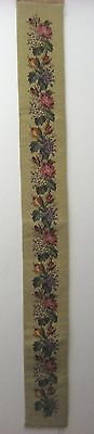 Antique Beautiful 19th C. French Victorian Needlepoint  Bell Pull  (9505)