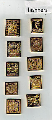 The Worlds First Stamps--Franklin Mint- Sterling Silver 24KT Gold Electroplate