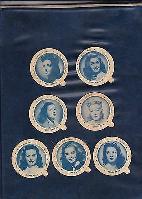 1946 DIXIE LID MOVIE STAR LOT  7 Different Actresses  LOW OPENING BID  AUTHENTIC