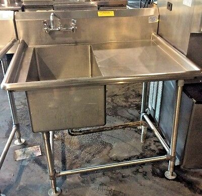 """1 COMPARTMENT STAINLESS STEEL SINK W/ RIGHT DRAINBOARD 45"""" x 37"""" HEAVY DUTY"""