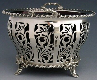 Stunning Large English Sterling Silver Cranberry Glass Bowl 1961 Rare Mint