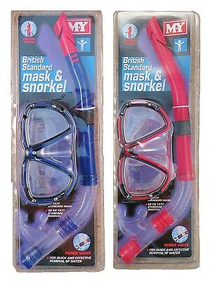MY Mask and Snorkel M.Y. British Standard Swimming Diving Choice of Colour New