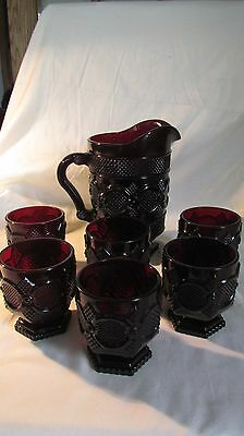 """6 Avon Ruby Red 1876 Cape Cod Footed Tumblers 3.75"""" & Pitcher"""