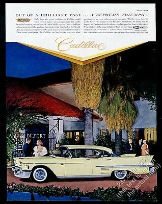 1958 Cadillac sedan at The Desert Inn photo vintage print ad