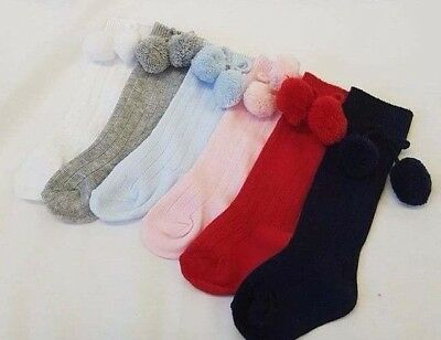 Boy / Girl Soft Touch Pom Pom Ribbed Spanish Romany Style Knee High Socks 0-24 M