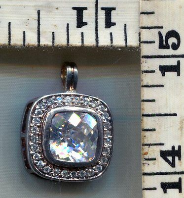 Vintage Sterling Pendant~#88351~Golden Hue~Large Cz With Smaller Around It
