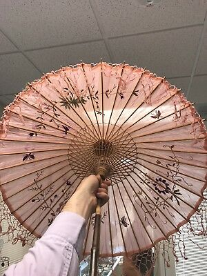 Silk Pink Parasol 1600's-1700's Amazing Condition Still Has Fringe