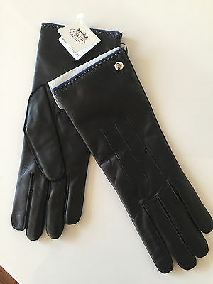 Coach Leather Gloves Size 7 1/2 Black New With Tags