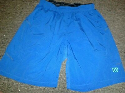 Wilson Shiny Silky blue Running Jogging Track Gym Shorts size L