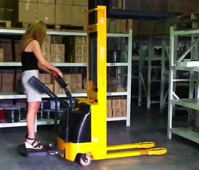 Electric 1000kg 3.3M Lift Height Electric Forklift Stacker ride on walk behind