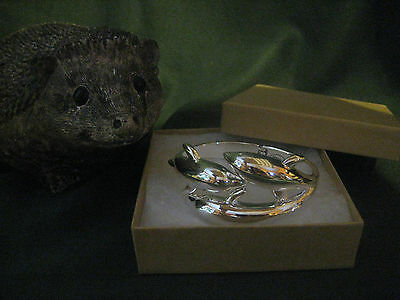 DOLPHIN collectible large BRACELET clamp style silver-tone excellent condition